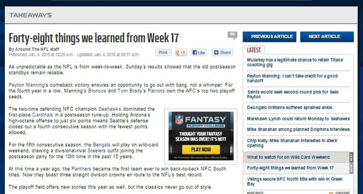 NFL.com's Chris Wesseling The Seahawks victory on Sunday was a complete effort, according to Wesseling.