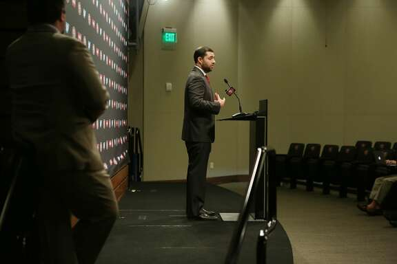 San Francisco 49ers CEO Jed York speaks during a press conference at Levi's Stadium Auditorium on Monday, January 4, 2015 in Santa Clara, Calif.