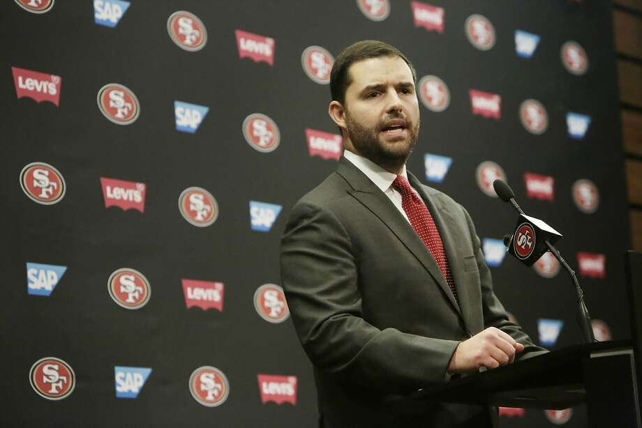 San Francisco 49ers CEO Jed York speaks during a press conference at Levi's Stadium Auditorium. Photo: Lea Suzuki, The Chronicle