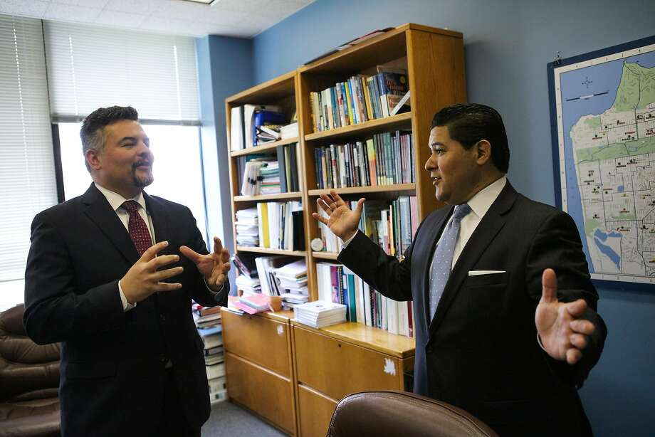 Schools Superintendent Richard Carranza (right) discusses ideas for programs with colleague Guadalupe Guerrero. Photo: Gabrielle Lurie, Special To The Chronicle