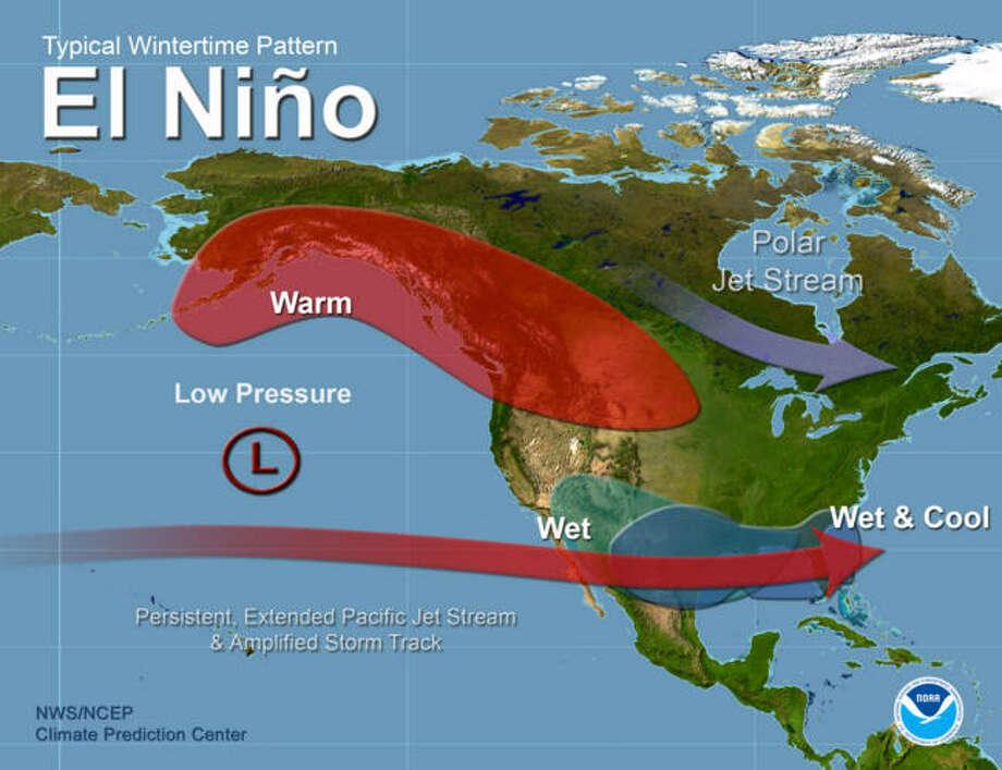 El Niño is known by the subtropical jet stream that brings cool wet weather to the southern United States. Photo: NOAA