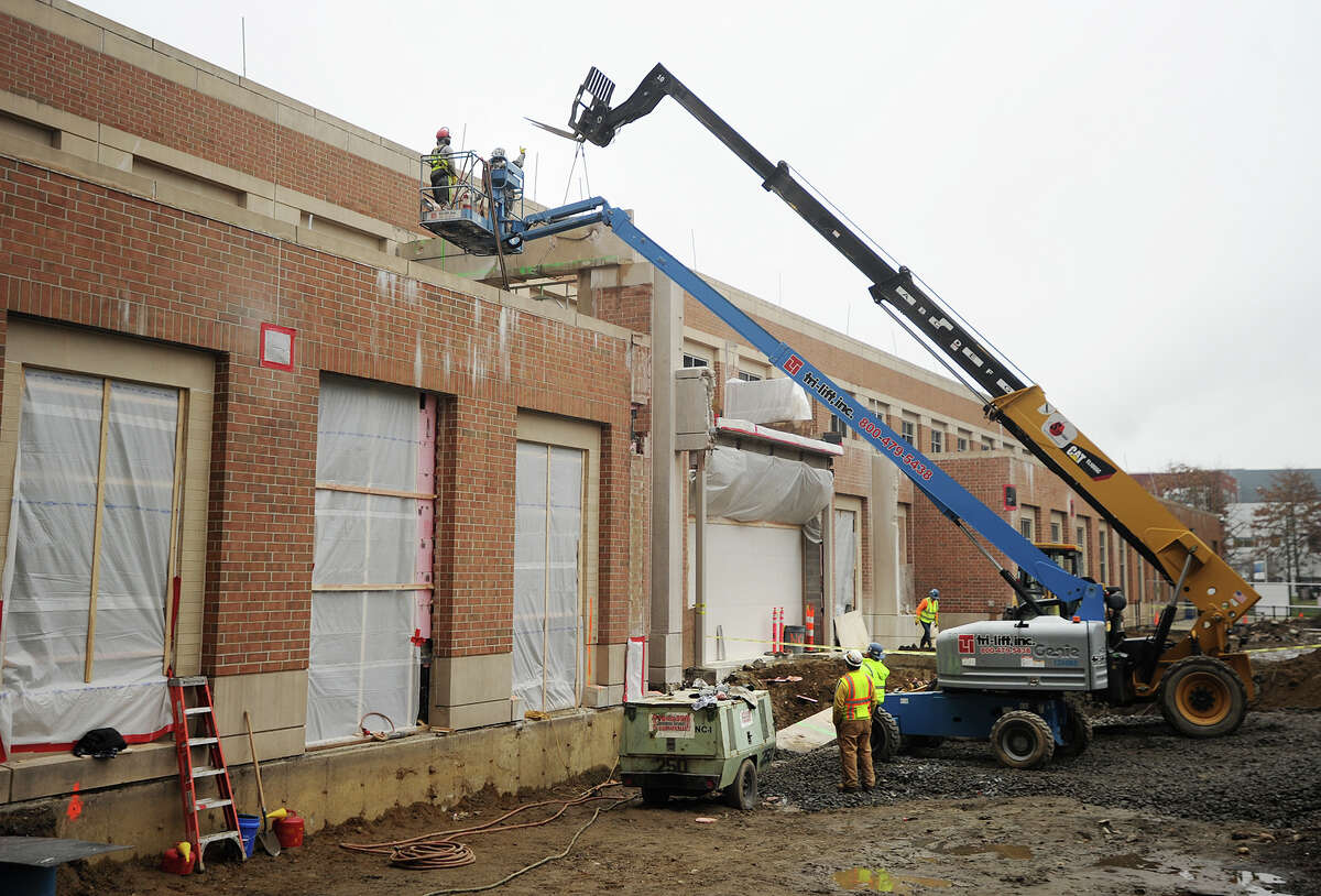 Work moves forward on a $37.5 million expansion to Housatonic Community College in Bridgeport, Conn. on Wednesday, December 30, 2015. The 46,000 square-foot addition will bring the building to the street on Lafayette Boulevard.