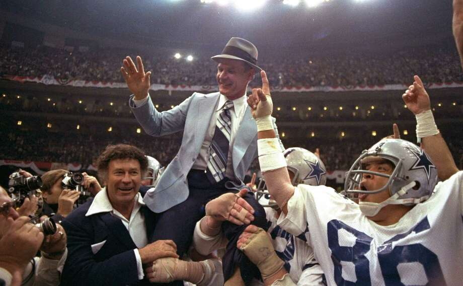 In this Jan. 15, 1978, file photo, Dallas Cowboys head coach Tom Landry is given a victory ride after the team defeated the Denver Broncos in NFL football's Super Bowl XII in New Orleans. Photo: Associated Press / AP
