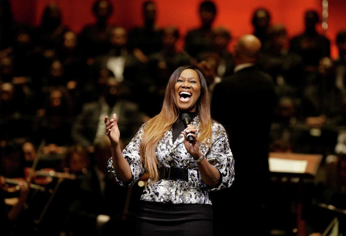Yolanda Adams performs with the Houston Symphony during the official inauguration ceremony.
