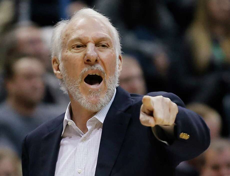 San Antonio Spurs head coach Gregg Popovich reacts to a call during the first half of an NBA basketball game against the Milwaukee Bucks Monday, Jan. 4, 2016, in Milwaukee. (AP Photo/Morry Gash) Photo: Morry Gash, Associated Press / AP
