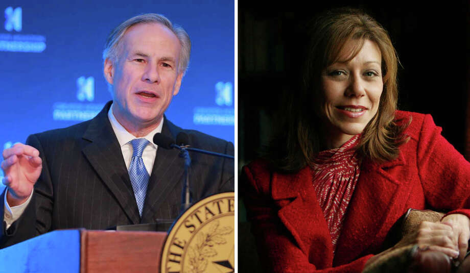 Gov. Greg Abbott, left, and state Sen. Joan Huffman
