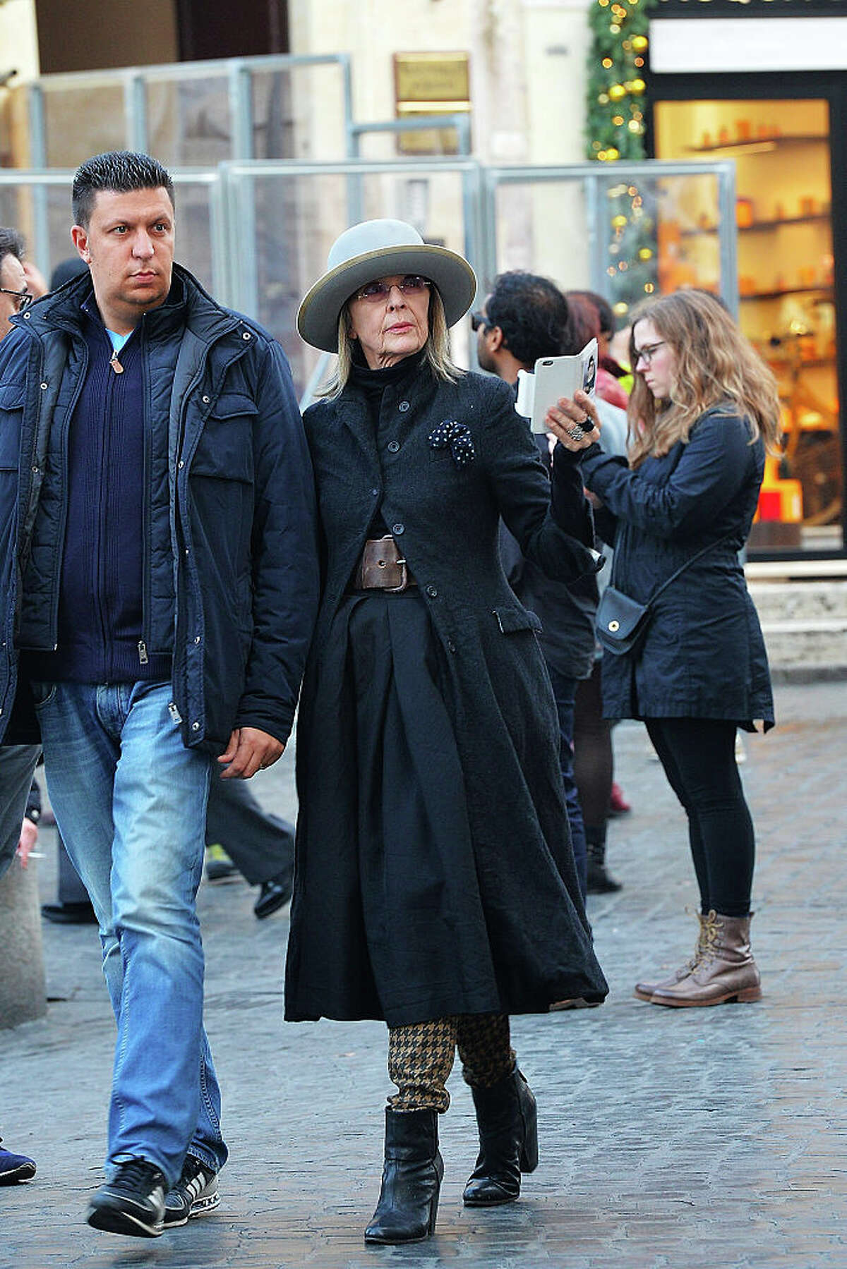 Diane Keaton is seen walking in Rome on December 9, 2015 in Rome, Italy. (Photo by Agostino Fabio/GC Images)