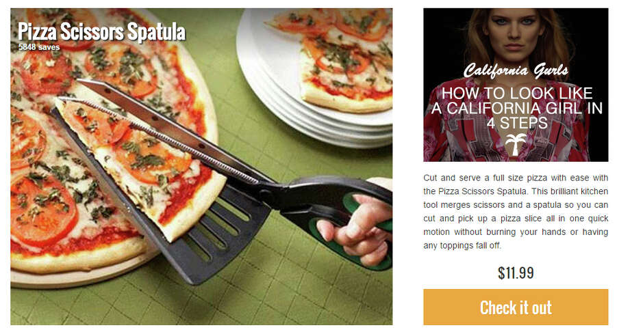 "Product: Pizza Scissors SpatulaBecause ""just grabbing a slice"" isn't good enough. Price: $11.99Found on: Thisiswhyimbroke.com Photo: Thisiswhyimbroke.com"
