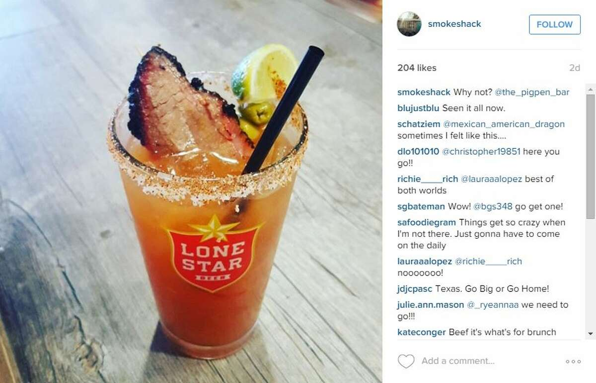 Pigpenowner Chris Conger posted a photo of a slice of brisket floating in a bloody mary with the caption,
