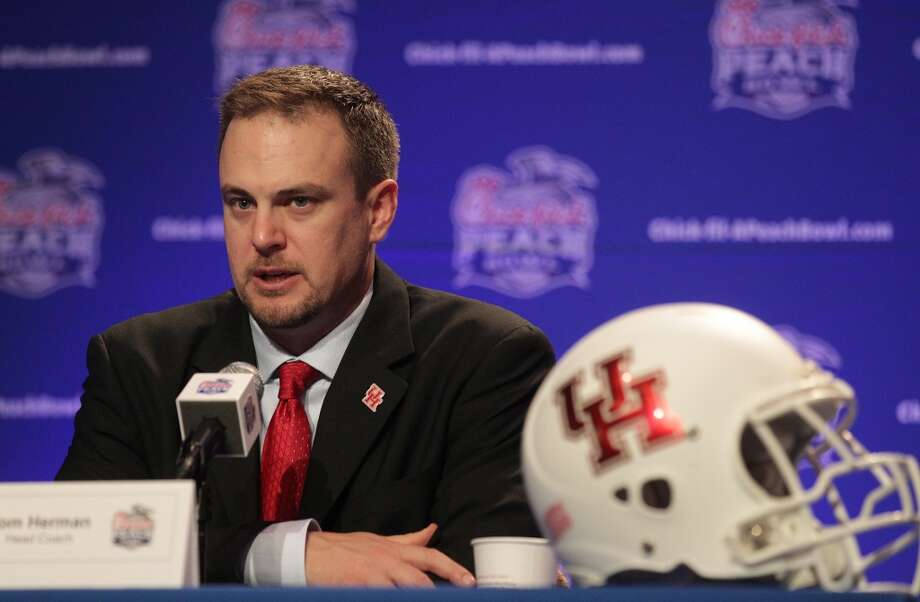 UH head coach Tom Herman denounced a pair of reports Thursday that said he met with Baylor about its head-coaching job. Photo: Elizabeth Conley, Houston Chronicle