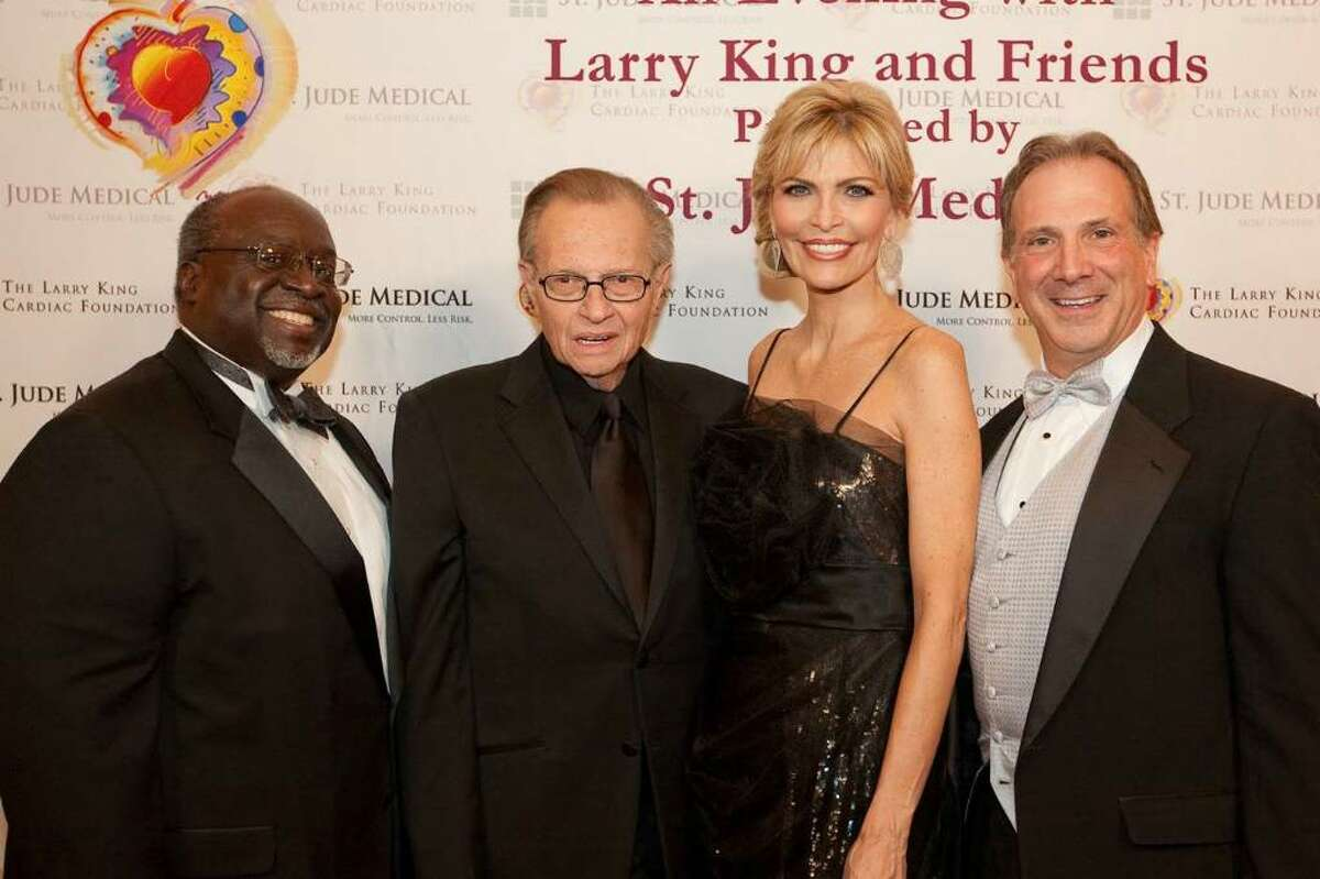 From left, Harry Thomas Jr., U.S. ambassador-designate to the Phillippines, Larry and Shawn King and John Hopper at the Larry King Cardiac Foundation's Celebrity Fundraiser lat month in Washington, D.C.