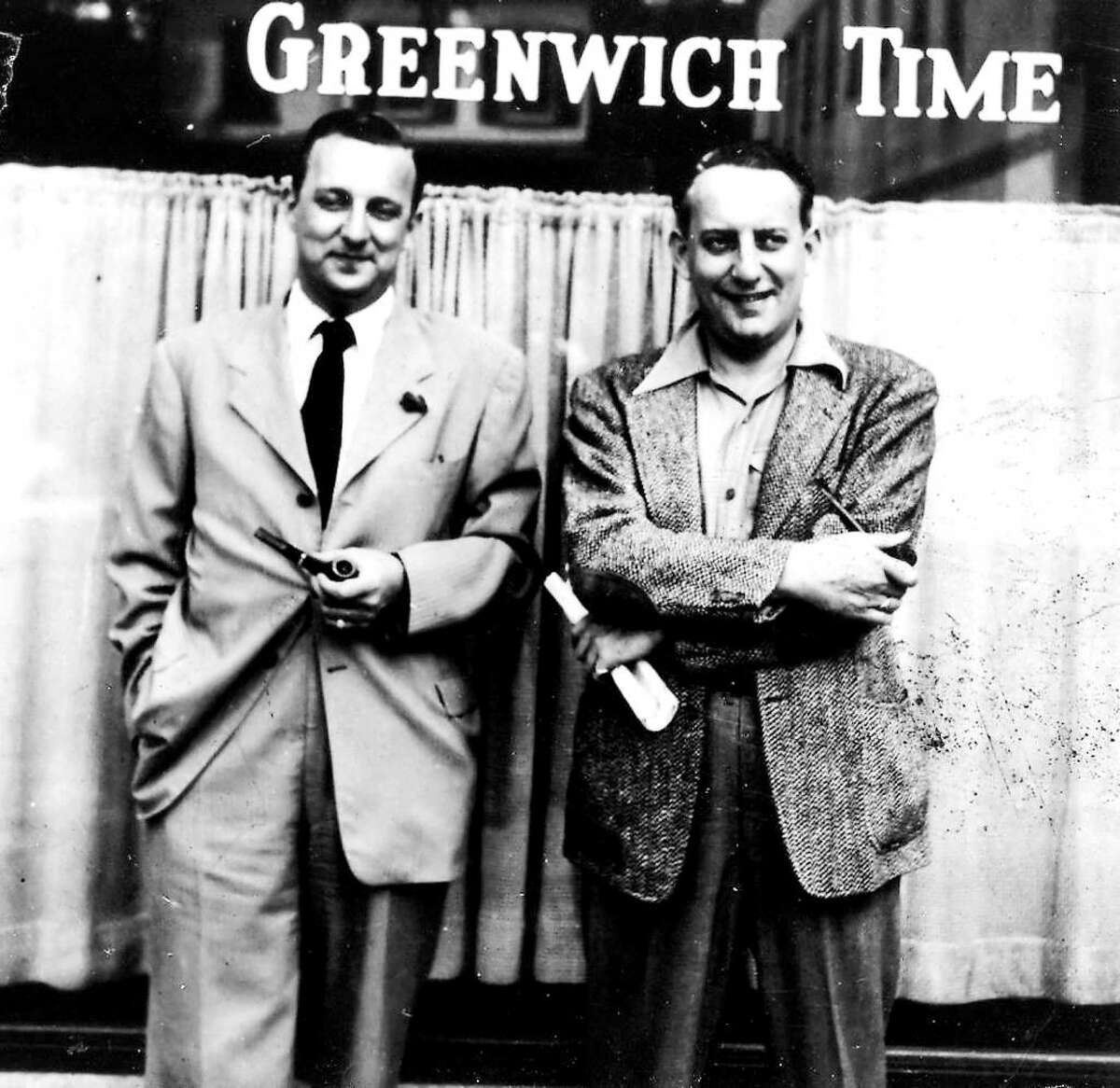 Bernie Yudain, left, and his brother Ted Yudain in front of the Greenwich Time building on East Elm Street, circa 1937. Bernie Yudain started as a reporter when the paper was called the Daily News and Graphic. It became the Greenwich Time in 1937, after which he worked his way up to managing editor. Ted Yudain bounced between the Daily News and Graphic and the Stamford Advocate until he was named editor of Greenwich Time in 1945 and held the position until 1963 when he left to become the editor of the Stamford Advocate. Bernie Yudain died Saturday.