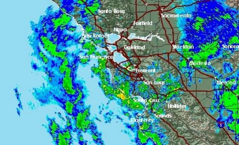 Radar shows scattered showers moving through the Bay Area after a strong rain storm swept through Tuesday morning. An even stronger storm was set to hit the region Wednesday morning. Photo: NWS
