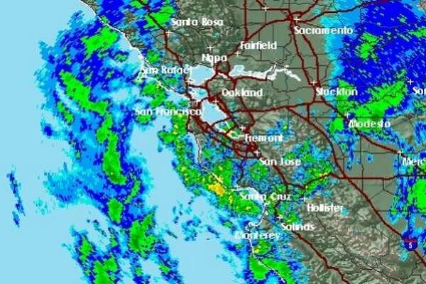 Radar shows scattered showers moving through the Bay Area after a strong rain storm swept through Tuesday morning. An even stronger storm was set to hit the region Wednesday morning.