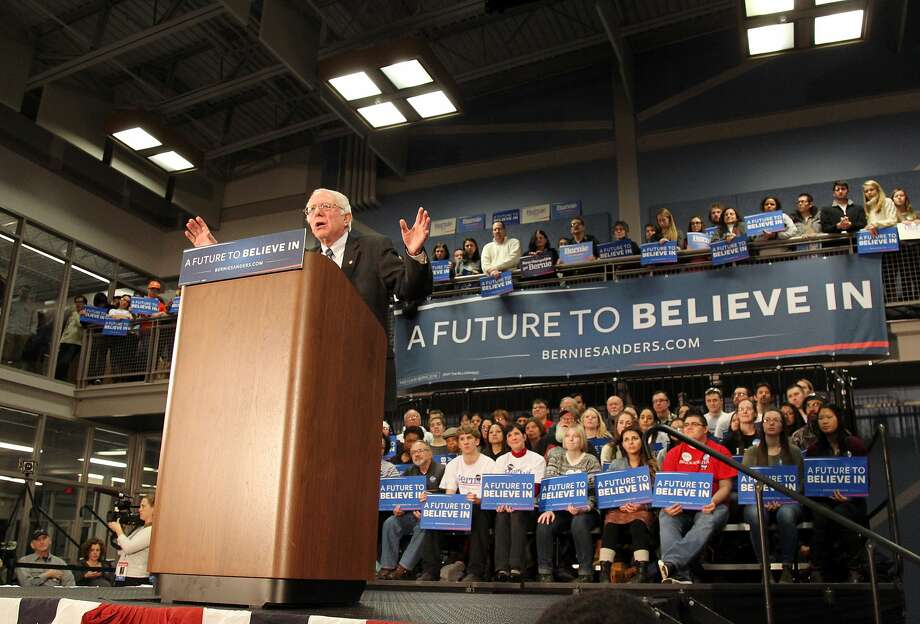 """Sen. Bernie Sanders has made regulating Wall Street a focus of his primary bid, with calls to curb the political influence of """"millionaires and billionaires"""" at the core of his message. Photo: Mary Schwalm, Associated Press"""