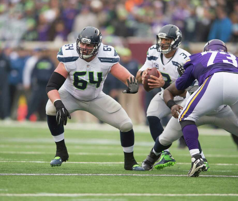 J.R. Sweezy of the Seattle Seahawks blocks during an NFL game against the Minnesota Vikings at TCF Bank Stadium December 6, 2015 in Minneapolis, Minnesota. Photo: Tom Dahlin, Associated Press / 2015 Tom Dahlin