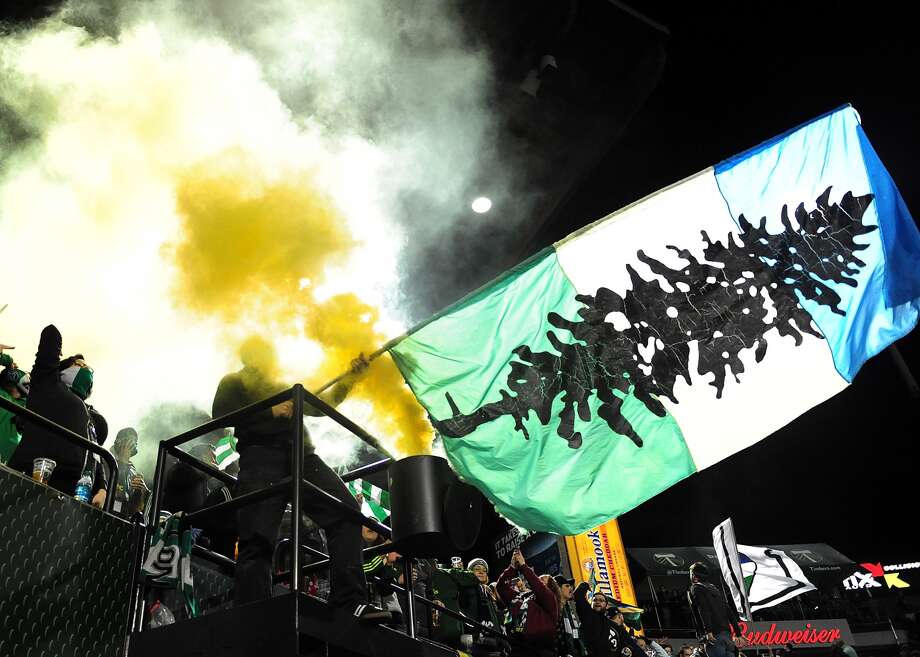 The Cascadia flag, seen at a soccer match. Depending on who is talking, the Cascadia secession scheme would have British Columbia, Washington and Oregon, as well as bits of the surrounding states and provinces, break away to form a Pacific Northwest republic.