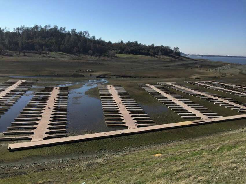 A view of Folsom Lake reservoir on Dec. 31, 2015. California's ninth-largest reservoir reached its lowest levels in early December 2015. Later that month, it finally started to slowly fill back up and reached 25 percent capacity.