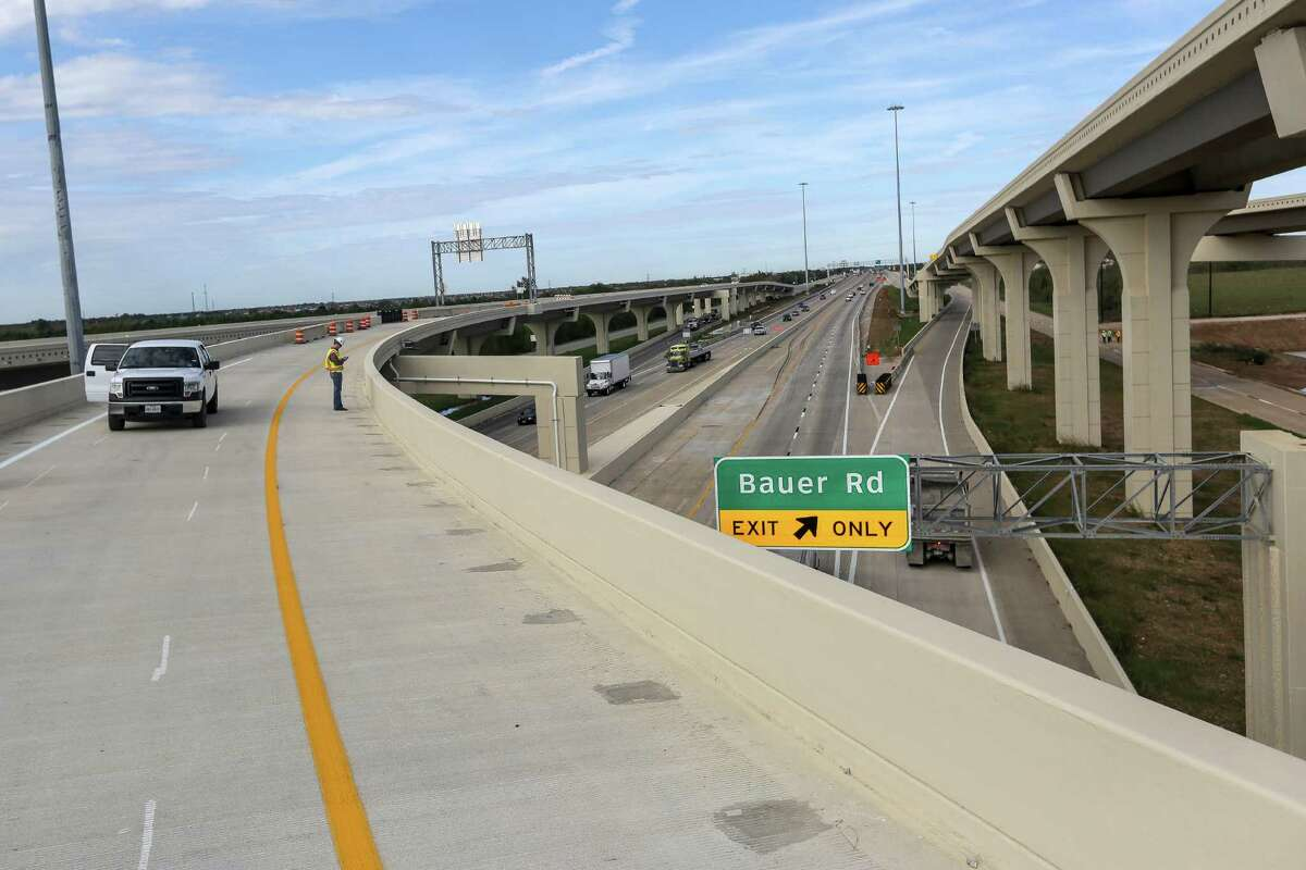 A flyover ramp awaits traffic on a new stretch of the Grand Parkway. As the Grand Parkway expands, it will encourage more suburban development in the Houston area.