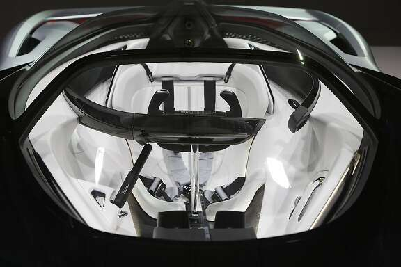 IMAGE DISTRIBUTED FOR FARADAY FUTURE - Faraday Future (FF) FFZERO1 Concept vehicle interior at FF's pre-CES reveal event in Las Vegas on Monday, Jan. 4, 2016. (Bizuayehu Tesfaye/AP Images for Faraday Future)