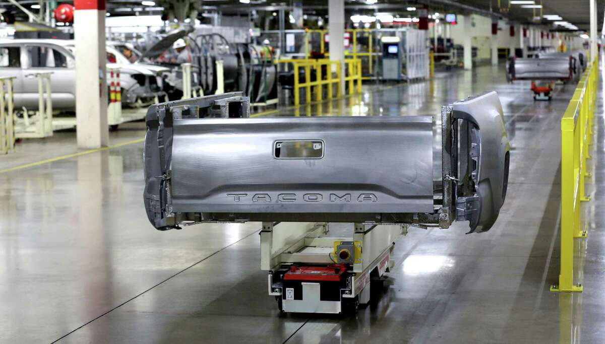 An assembly line is shown at the South Side plant where Toyota manufactures Tacoma and Tundra pickups. Toyota sold 179,562 Tacoma pickups last year, a 15.8 percent increase from the 155,041 it sold in 2014, according to company sales figures released on Tuesday.