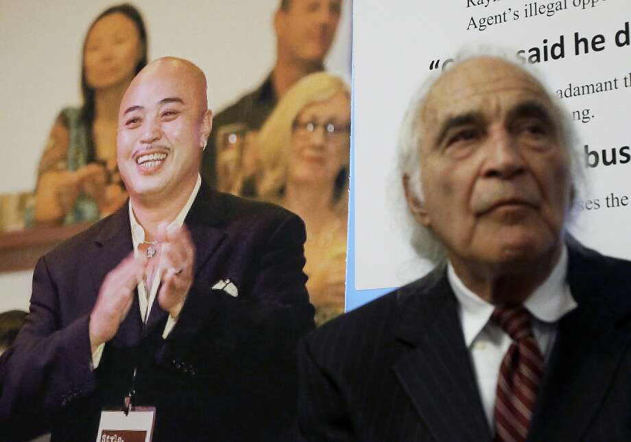 """Tony Serra, right, an attorney for Raymond """"Shrimp Boy"""" Chow, pictured at left. Photo: Jeff Chiu, Associated Press"""