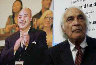 "FILE - In this April 10, 2014 file photo, Tony Serra, right, an attorney for Raymond ""Shrimp Boy"" Chow, pictured at left, listens to speakers at a news conference in San Francisco. Chow, a dapper former San Francisco gang leader who portrayed himself as a reformed criminal, was the focus of a lengthy organized crime investigation in Chinatown that ended up snaring a corrupt California senator and more than two dozen others. Closing arguments are expected Monday, Jan. 4, 2016, in the racketeering and murder case against Chow. (AP Photo/Jeff Chiu, File)"