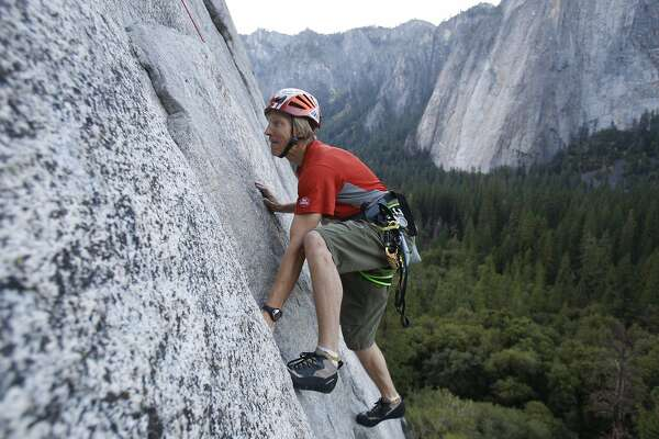 Hans Florine, 44, of Lafayette, Calif.,  heads up the lower face of El Capitan. He and Yuji Hirayama, 39, of Hidaka, Japan, make another attempt on October 8, 2008 to break their own speed record climb up the Nose of the internationally famous granite cliff known as El Capitan in Yosemite National Park.