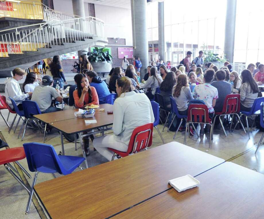 Students eat lunch in the student center at Greenwich High School in Greenwich, Conn., Tuesday, Sept. 29, 2015. A new committee will study student stress at the school. Photo: Bob Luckey Jr. / Hearst Connecticut Media / Greenwich Time