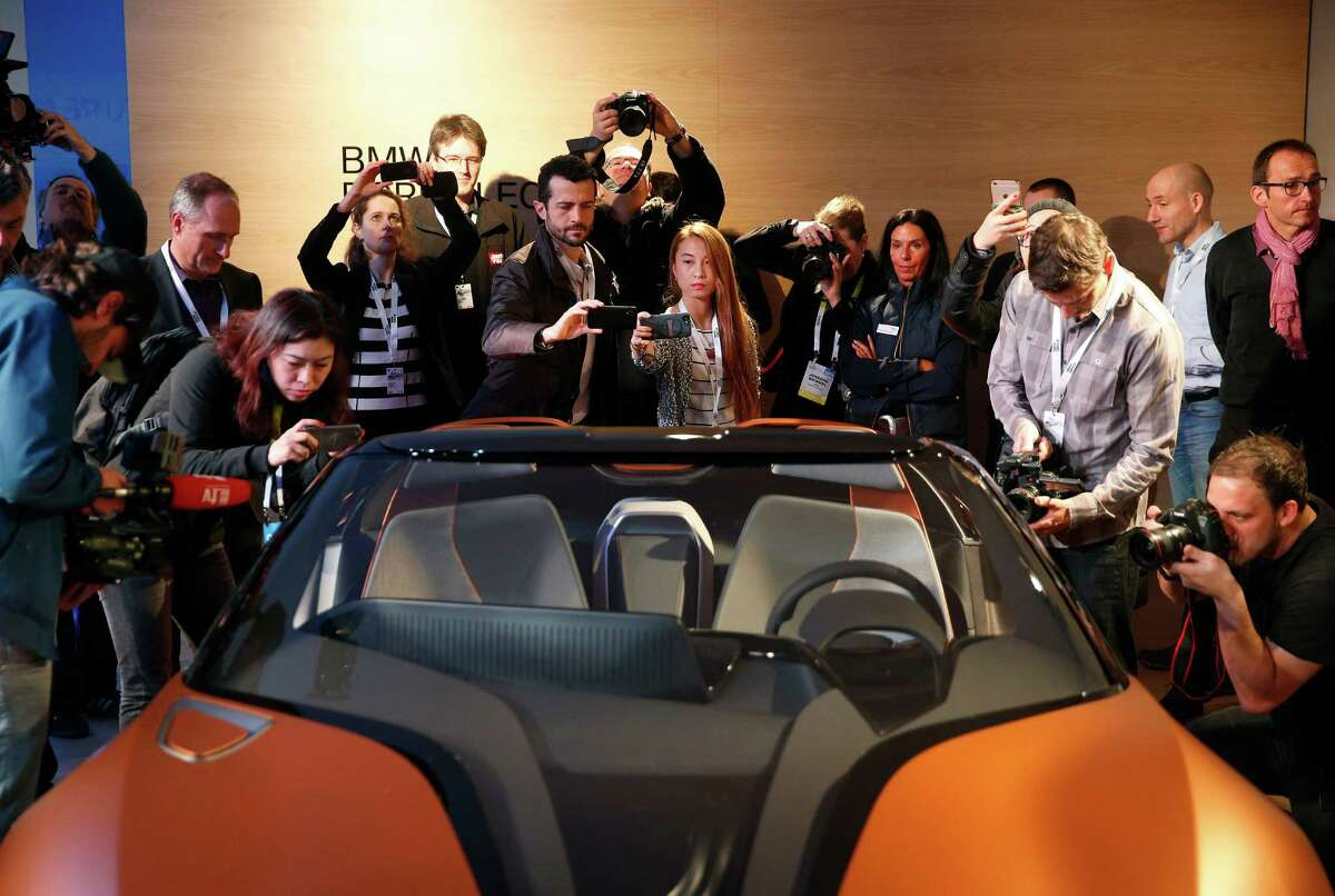 The BMW i Vision Future Interaction concept car was introduced Tuesday at the CES gadget show in Las Vegas.