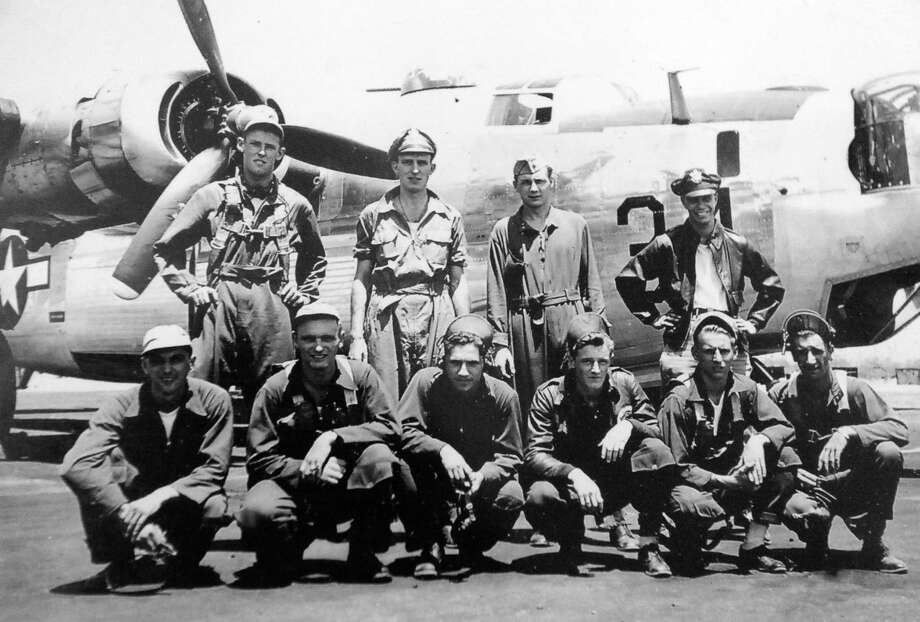 A photo from World War II of veteran Milton Klarsfeld, back right, and and his crew. Klarsfeld is now 92 and the last surviving member of Arsenic & Lace, a B24 that was eventually shot down on December 17, 1944, over Olomouc in what is now the Czech Republic. The mission originated from Italy. He was taken POW until end of the war. (Courtesy Milton Klarsfeld) Photo: Michael P. Farrell / 00029822A
