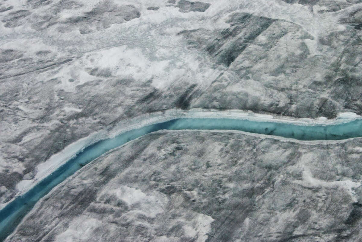 A view of the Greenland Ice Sheet from a 2012 expedition to collect data on the degree of ice melting. The research contributed to the study