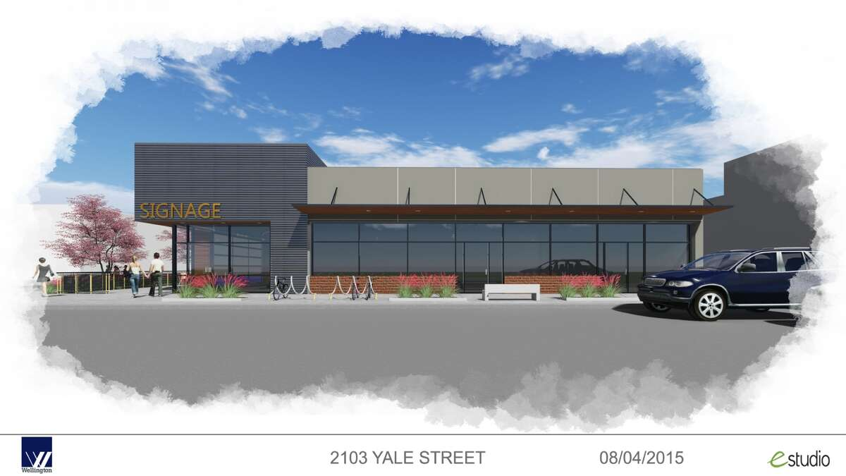 Rendering of new retail center at Yale and 21st Street in the Heights. (Courtesy of Wellington/EStudio)