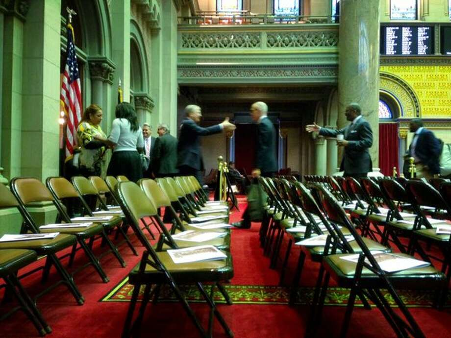 The Assembly chamber comes to life for the opening day of the state Legislature in Albany on Jan. 6, 2016. (Paul Buckowski/Times Union)