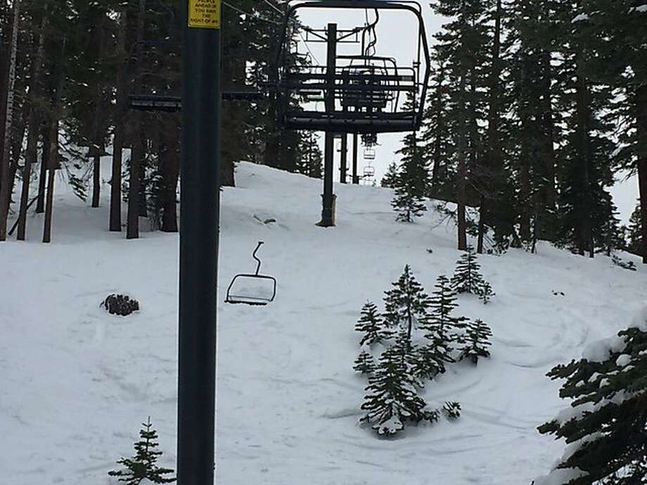 An unoccupied chair fell on the downhill route of a ski lift at Heavenly Mountain Resort on Sunday, one day after an 8-year-old Los Gatos girl was injured when she plummeted from a ski-lift chair at the Squaw Valley Resort near Lake Tahoe. Photo: Courtesy Of Christopher Strunk