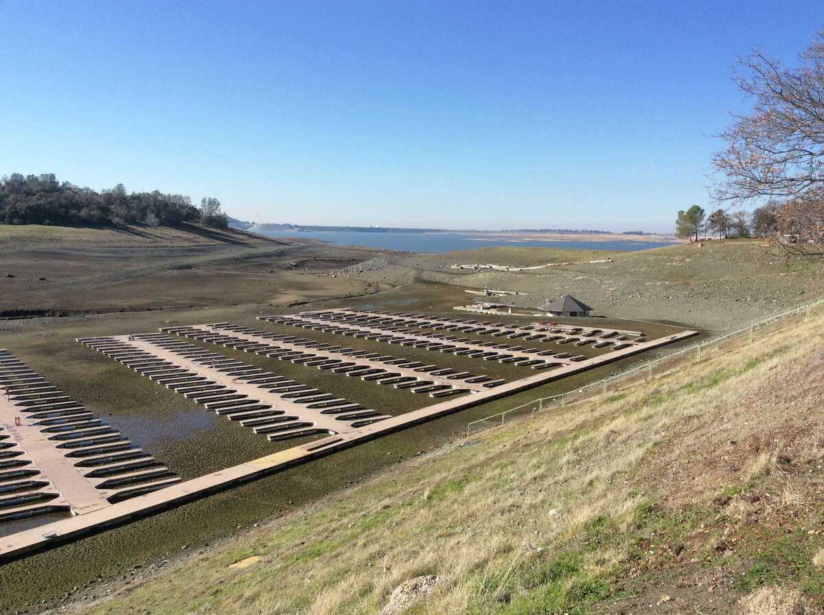 A view of Folsom Lake reservoir on Dec. 31, 2015. California's ninth-largest reservoir reached its lowest levels in early December 2015, later that month, it finally started to slowly fill back up and reached 25 percent capacity.