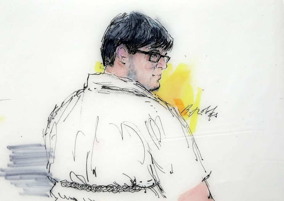 In this artist's sketch, Enrique Marquez Jr. appears in a Riverside court Dec. 21. Marquez faces two firearms violations for being the straw buyer who purchased rifles used in the attack. Photo: Bill Robles, Associated Press