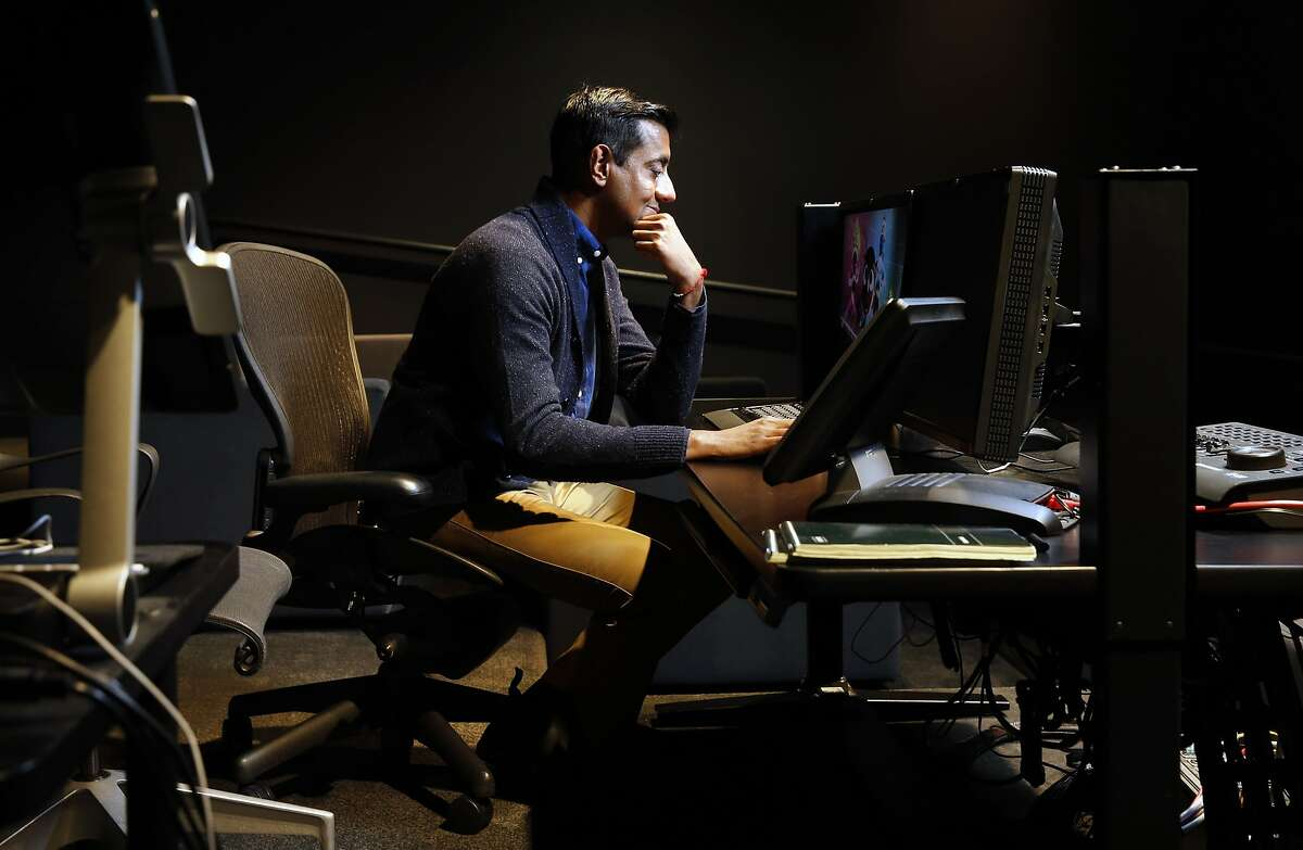 Sanjay Patel at the control board of a screening room at the offices of Pixar Animation in Emeryville, Calif., on Wed. January 6, 2016.