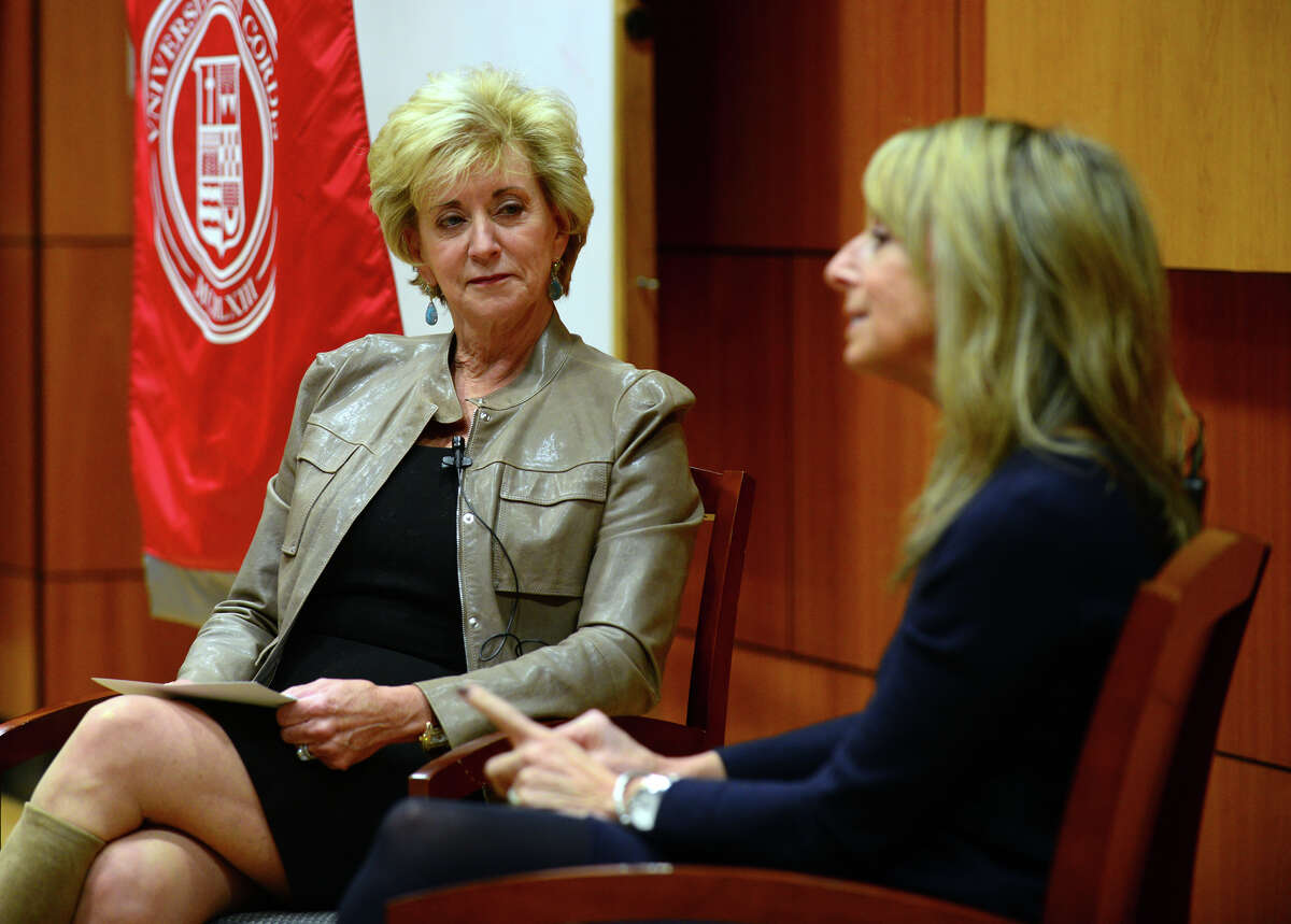 """Linda McMahon, left, hosts the third installment of her """"Women Can Have it All"""" series with NBC cable executive Bonnie Hammer, held at the Schine Auditorium at Sacred Heart University in Fairfield, Conn. on Wednesday Mar. 25, 2015. McMahon has joined two partners to form a company to encourage women's empowerment in business."""