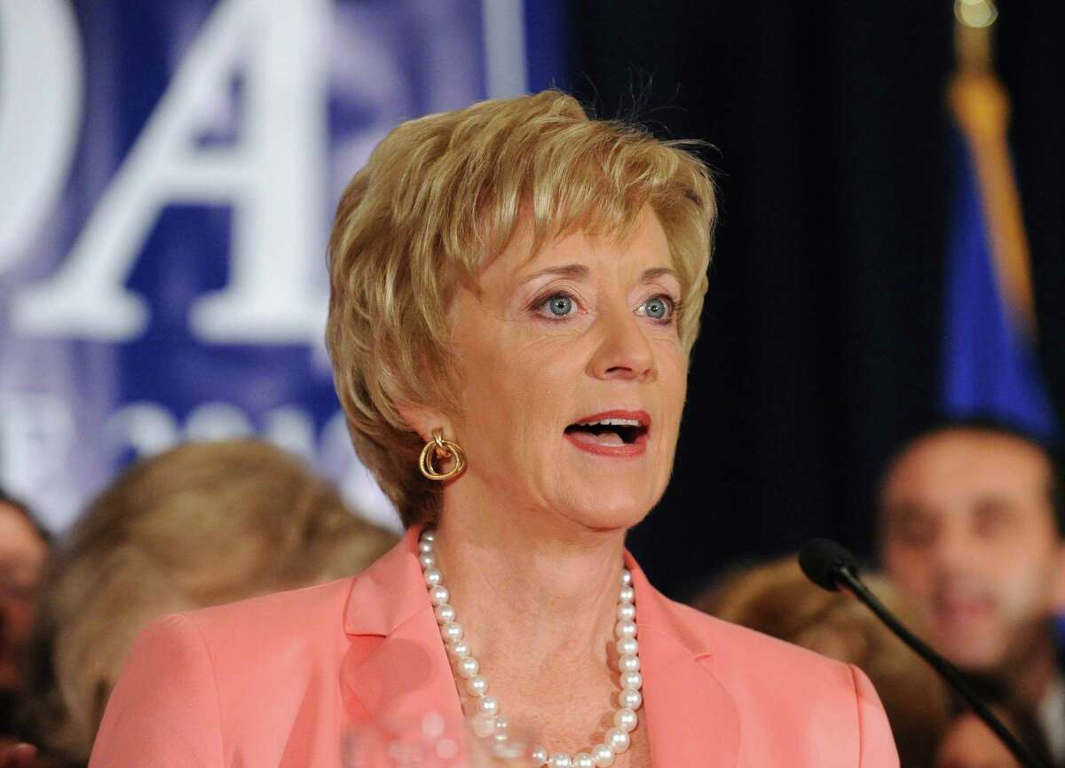 Republican Linda McMahon of Greenwich celebrates her U.S. Senate primary election victory over opponent Christopher Shays at the Hilton Stamford Hotel, Tuesday night, Aug. 14, 2012. McMahon, who ultimately lost to Shays, has formed a company to encourage women's empowerment in business.
