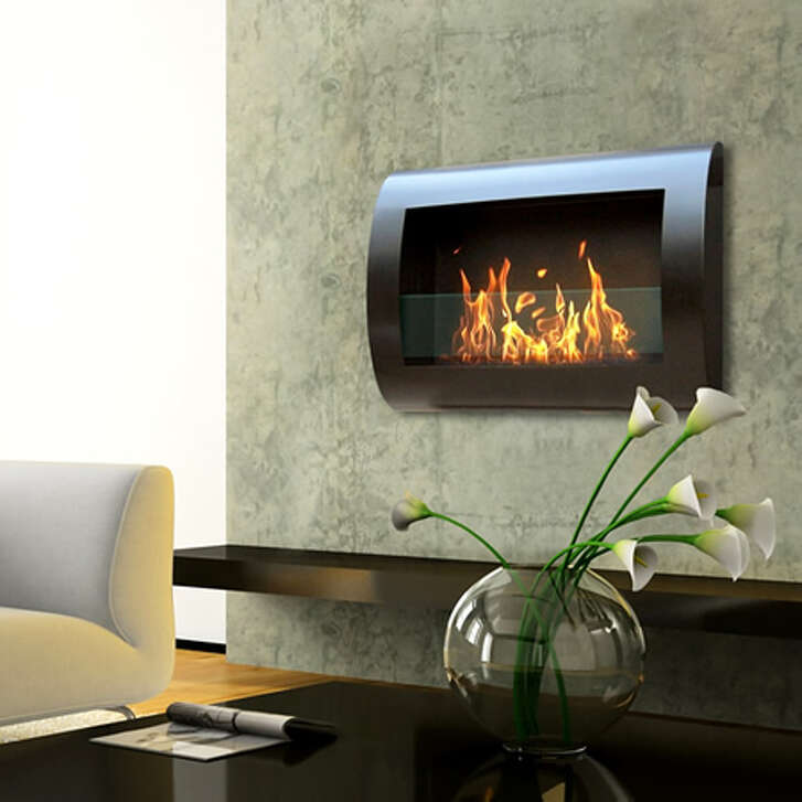 Woodland Direct's Anywhere Fireplace Chelsea Black Indoor Wall Mount Fireplace is fueled by clean-burning ethanol and does not require venting.