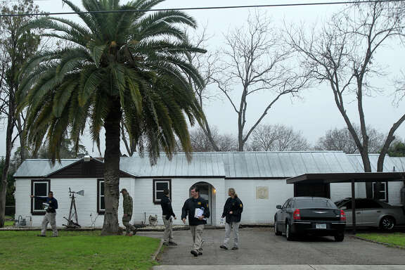 F.B.I. agents stand by a home located at 3003 Jupe Drive on San Antonio's South East Side where it is alleged that Bandidos Motocycle Club leader John X. Portillo lives. The agency said Portillo and the club's sergeant at arms, Justin Cole Forster, were taken into custody in San Antonio.