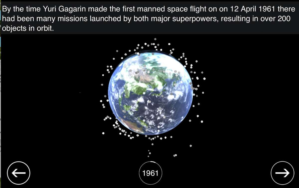 Image taken from the space junk visualization created by Stuart Grey of the University College London and Space Geodesy and Navigation Laboratory. Check out the entire simulation here.