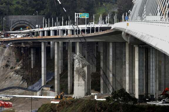 The bicycle pedestrian path on the southern side of the new Bay Bridge, in Oakland, Calif., on Wed. January 6, 2016,  will eventually connect to Yerba Buena Island when completed and is now scheduled to open in the summer of 2016.