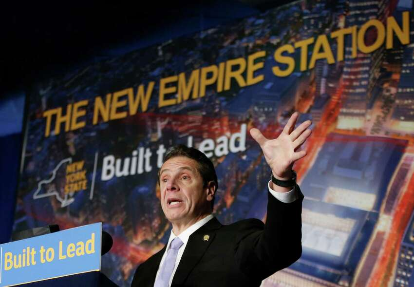 New York Governor Andrew Cuomo describes the planned overhaul of Pennsylvania Station during a press conference announcing that work will commence immediately on the overhaul of Pennsylvania Station at Madison Square Garden, Wednesday, Jan. 6, 2016, in New York. (AP Photo/Kathy Willens)
