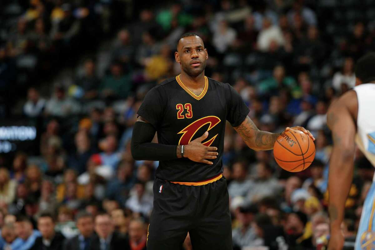 Cleveland Cavaliers forward LeBron James (23) in the first half of an NBA basketball game Tuesday, Dec. 29, 2015, in Denver. (AP Photo/David Zalubowski)