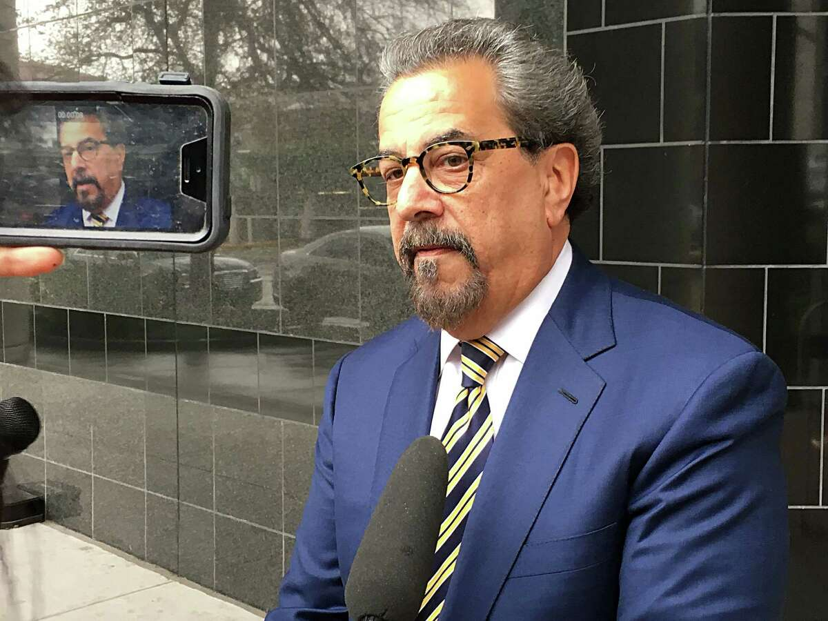 Kent Schaffer attorney for Bandidos Motorcycle Club National President Jeffrey Pike is interviewed by reported outside the Bob Casey Federal Courthouse Wednesday, Jan. 6, 2016, in Houston.