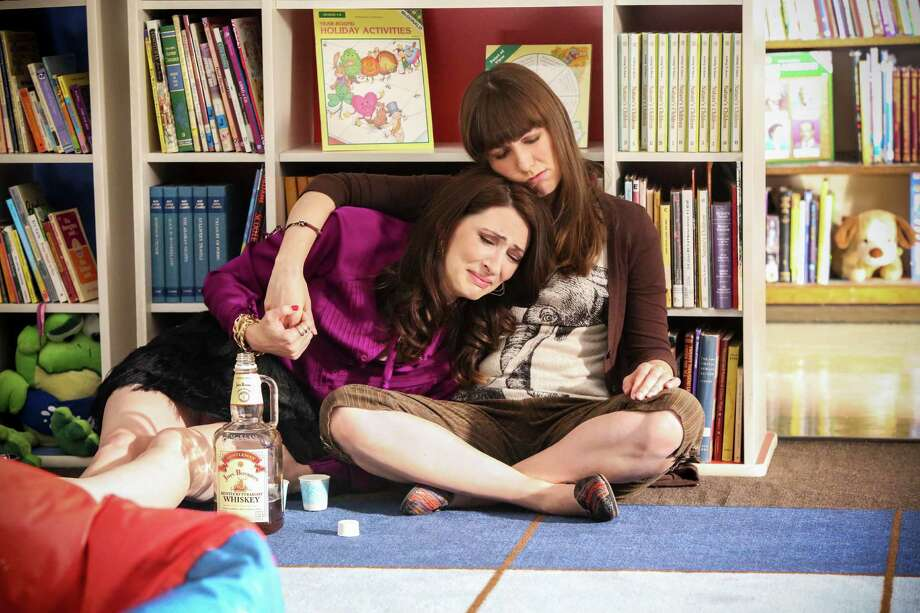 """Ms. Cannon (Caitlin Barlow) consoles Ms. Snap (Katy Colloton) in """"Teachers."""" Photo: TV Land / TV Land / © 2015 VIACOM INTERNATIONAL, INC. ALL RIGHTS RESERVED"""