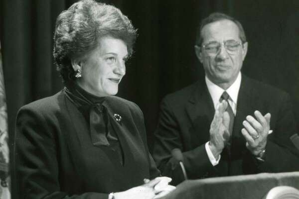 Newly appointed Chief Justice of the Court of Appeals Judith Kaye with her appointer Gov. Mario Cuomo on Feb. 22, 1993. (Skip Dickstein/Times Union archive)