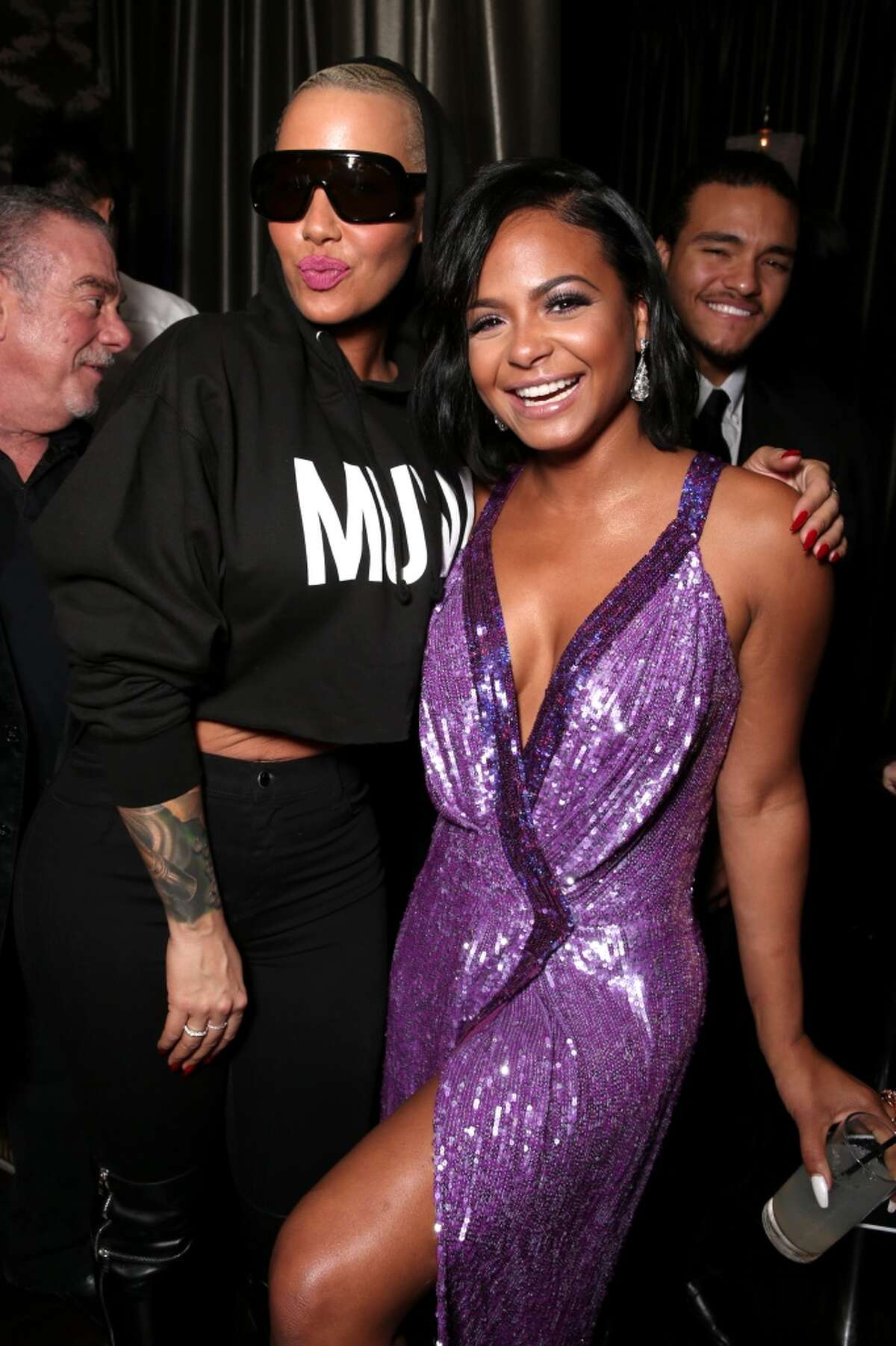 Model Amber Rose (L) and singer Christina Milian attend DailyMail's after party for 2016 People's Choice Awards at Club Nokia on Jan. 6, 2016 in Los Angeles, Calif.